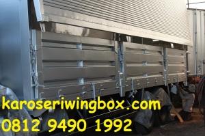 Manufaktur (finishing) karoseri wingbox Isuzu Giga FVM34W, tampak samping wingbox